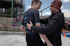 One of my college rivals, now idols, Mike Barton giving me post race congratulations. Photo credit: Velocio / Meg McMahon
